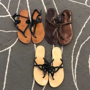 Lot of 3 sandals- 2 Ecote & 1 Abercrombie & Fitch
